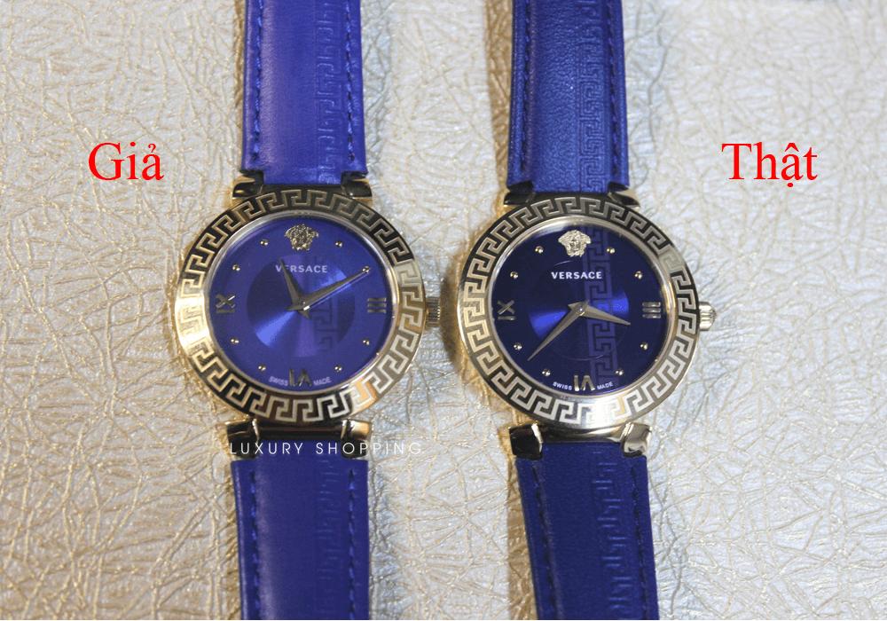 So sánh mặt đồng hồ Versace thật giả