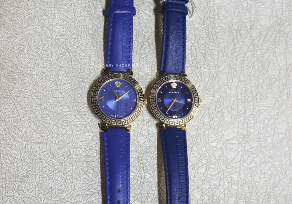 tổng thể hai mẫu đồng hồ Versace thật và giả
